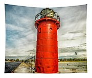 Lighthouse In South Haven Tapestry
