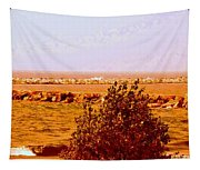 Lighthouse Manistique Retro Pano Tapestry