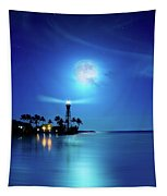 Lighthouse Moon Tapestry
