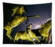Lightning At Horse World Fine Art Print Tapestry
