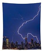 Lightning Bolts Over New York City Tapestry