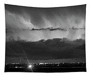 Lightning Cloud Burst Black And White Tapestry