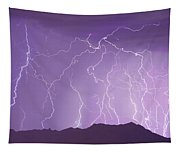 Lightning Over The Mountains Tapestry
