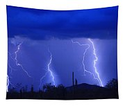 Lightning Storm In The Desert Fine Art Photography Print Tapestry