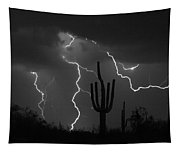 Lightning Storm Saguaro Fine Art Bw Photography Tapestry