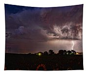 Lightning Stormy Weather Of Sunflowers Tapestry