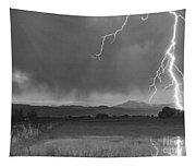 Lightning Striking Longs Peak Foothills 5bw Tapestry