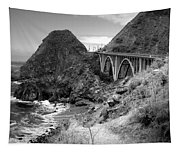 Lime Creek Bridge Highway 1 Big Sur Ca B And W Tapestry