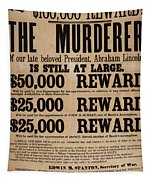 Lincoln Assassination Reward Poster Tapestry