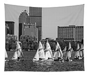 Line Of Boats On The Charles River Boston Ma Black And White Tapestry