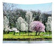 Line Of Flowering Trees Tapestry