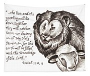 Lion And Yearling Tapestry