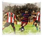 Lionel Messi Challenges The Athletic Bilbao Defense Tapestry