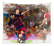 Lionel Messi  Fights For The Ball Tapestry