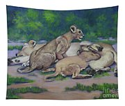 Lioness With Cubs Tapestry