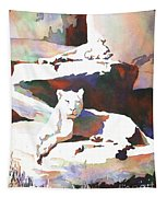 Lionesses At Zoo Tapestry