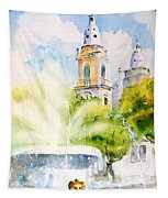 Lions Fountain Plaza Las Delicias  Ponce Cathedral Puerto Rico Tapestry