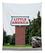 Little America Hotel Signage Vertical Tapestry