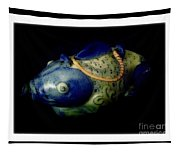 Little Blue And White Fish Tea Pot Still Life Tapestry
