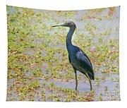 Little Blue Heron In Weeds Tapestry
