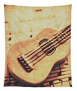 Little Carved Guitar On Sheet Music Tapestry