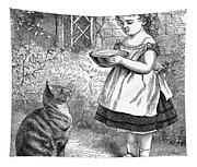 Little Girl Gives Her Cat Its Dinner Tapestry