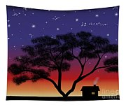 Little House At Sunset Tapestry