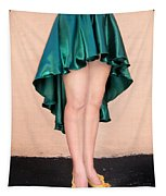 Ameynra Fashion Satin High Low Skirt, Dark-green Tapestry