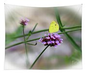 Little Yellow Butterfly On Verbena Tapestry