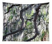 Live Oak With Spanish Moss And Palms Tapestry