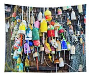 Lobster Buoys And Nets - Maine Tapestry