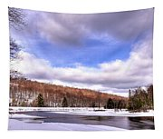 Lock And Dam Snowscape Tapestry