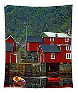 Lofoten Fishing Huts Oil Tapestry