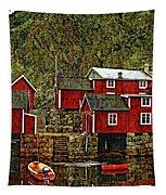 Lofoten Fishing Huts Overlay Version Tapestry
