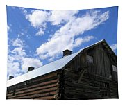 Log Clydesdale Barn Tapestry