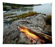 Log On Fire Manitoba Lake Wilderness Tapestry