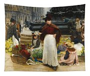 London Flower Girls Piccadilly Circus Tapestry