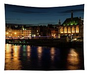 London Night Magic - Colorful Reflections On The Thames River Tapestry