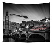 London Westminster Bridge At Sunset Tapestry