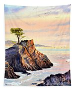 Lone Cypress Tree Pebble Beach Tapestry