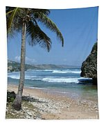 Lone Palm On Barbados Coast Tapestry