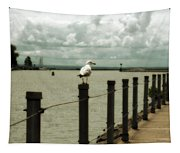 Lone Pier Seagull Tapestry