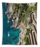 Long And Twisted Walk To The Shore - Azure Magic Of Capri Tapestry