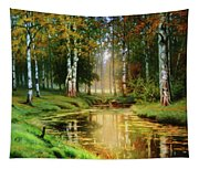 Long Indian Summer In The Woods Tapestry