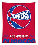 Los Angeles Clippers Vintage Basketball Art Tapestry