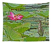 Lotus Blossom And Heron Tapestry