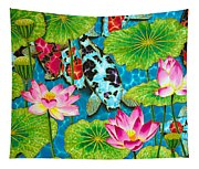 Lotus  Flower  And  Koi Fish Tapestry