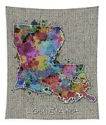 Louisiana Map Color Splatter 5 Tapestry