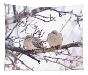 Love Is In The Air - Mourning Dove Couple Tapestry