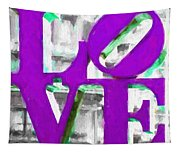 Love Philadelphia Purple Digital Art Tapestry